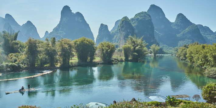 Yulong River view from Yangshuo Mountain Retreat is best among Yangshuo hotels.