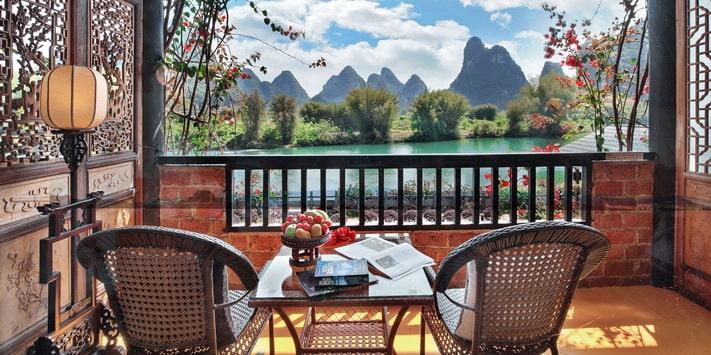 Yangshuo Mountain Retreat Yulong River queen rooms - best among Yangshuo hotels.