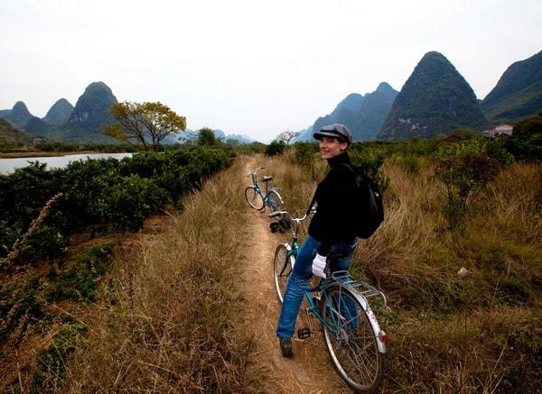 Mountain biking to Yangshuo Mountain Retreat